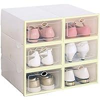 靴箱 積み重ね可能プラスチック製靴収納ラック 透明ドア付き イエロー SB-04
