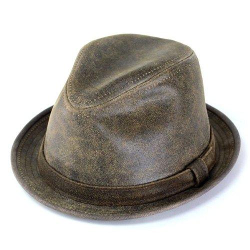 帽子 メンズ ニューヨークハット レザーハット/9292/Antique Leather Fedora/ブラウン