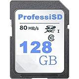 ProfessiSD SDカード UHS-1 64GB/ 128GB / 256GB マイクロSDカード クラス10 フラッシュカード (最大80MB / sの読み取り) (128GB)