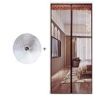 HUYYA 防虫網ドア、ヘビーデューティ磁気カーテン ドア 磁気スクリーン 自動式マジックテープアンチバグ&昆虫,Brown_52x88in/130x220CM