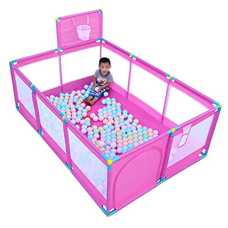 ベビーサークル 室内の子供のゲームフェンス、赤ちゃんの遊び場のボール赤ちゃんのクローリング幼児のフェンス新しいスタイルの安全な遊び場 (色 : PINK)
