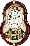 リズム時計 Small World 電波掛け時計 スモールワールドコンチェルDX からくり時計 茶メタリック色 4MN495RH06