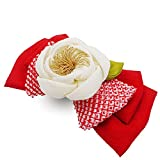手作り の 椿 と リボン の 髪飾り(赤)