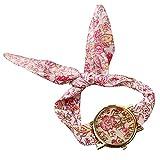 PolytreeレディースGirl 's花柄布バンドフラワードレスクォーツ腕時計(タイプ11)