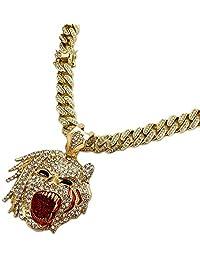 "BLINGFACTORY Hip HOP ICED Gold Plated Half Man Half Beast Pendant & 18"" Box Lock Cuban Chain Necklace"