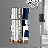 【6枚セット】鏡貼 鏡貼り 壁貼りシール 鏡シール インテリア鏡貼 おしゃれ 薄型 空間節約 浴室 化粧 壁 装飾波型 6枚セット 10x12cm