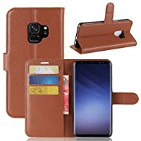 Samsung Galaxy S9 Wallet Case, Samsung Galaxy S9 Case, Phoebe Premium Leather Zipper Wallet Multifunctional カバー Removable Card Slot Pocket Pouch Flip Protective Cover for Samsung Galaxy S9 - Brown