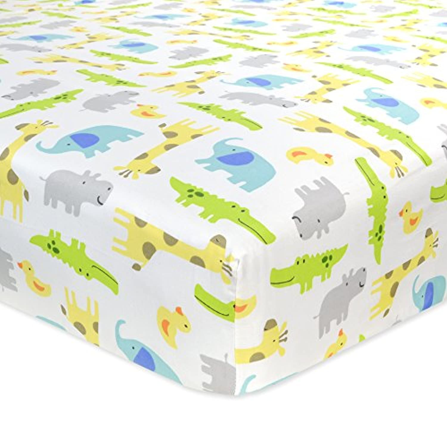 Carter's Cotton Fitted Crib Sheet, Critter/Green/Yellow/Grey/White by Carter's