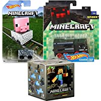 Minecraft Hot Wheels Spider Hauler TruckピクセルCharacter Car + Minecart ride-onキューブボックス車+ Minecraftシリーズ木製チェストブラインドボックスMystery Mini Figure