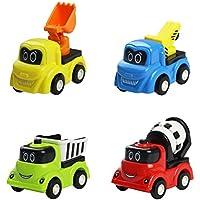 Fajiabao Pull Back Cars Vehicles Mini CarsおもちゃPush and Go construction trucksモデルセット4 pc for kids
