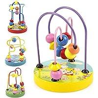 木製ビーズ迷路ゲームRoller Coaster ToyカラフルAbacus円ゲーム子供おもちゃfor Boys Girlsランダム色
