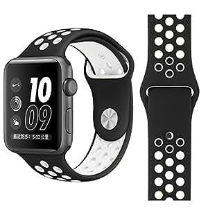 【万屋】Apple Watch スポーツバンド 全16色 高級シリコンバンド Apple Watch Series 3 / Series 2 Series 1 に向け 専用スポーツバンド 通気 汚れ防止 水洗い可 Apple Watch 人気スポーツバンド (Apple Watch 38mm, ブラック+ホワイト)