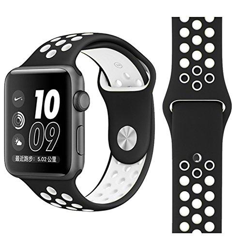 【万屋】Apple Watch スポーツバンド 全16色 高級シリコンバンド Apple Watch Series 3 / Series 2 Series 1 に向け 専用スポーツバンド 通気 汚れ防止 水洗い可 Apple Watch 人気スポーツバンド (Apple Watch 42mm, ブラック+ホワイト)