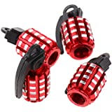 Baosity 4 Sets Tire Air Valve Caps, Wheel Tyre Dust Stems Cover, Waterproof, Dust-Proof, Universal fit for Cars, SUV, Truck, Motorcycles - Red