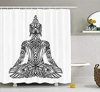 Yeussチャクラシャワーカーテン、Kundaliniヨガと花のスピリチュアルなデザインで作られたシルエット、布生地のバスルームの装飾セットフック、balck、ホワイト