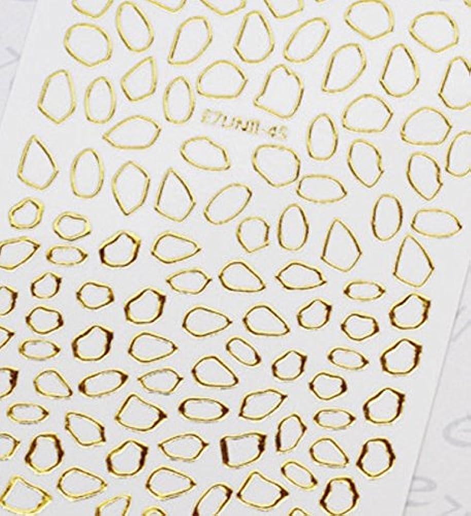 保守可能芸術こどもの日極薄直接貼るタイプ ネイルシール スティッカー 枠 変形フレーム 垂らしこみアート用 多種多様なデザインに対応可能 ゴールド 金色 45番