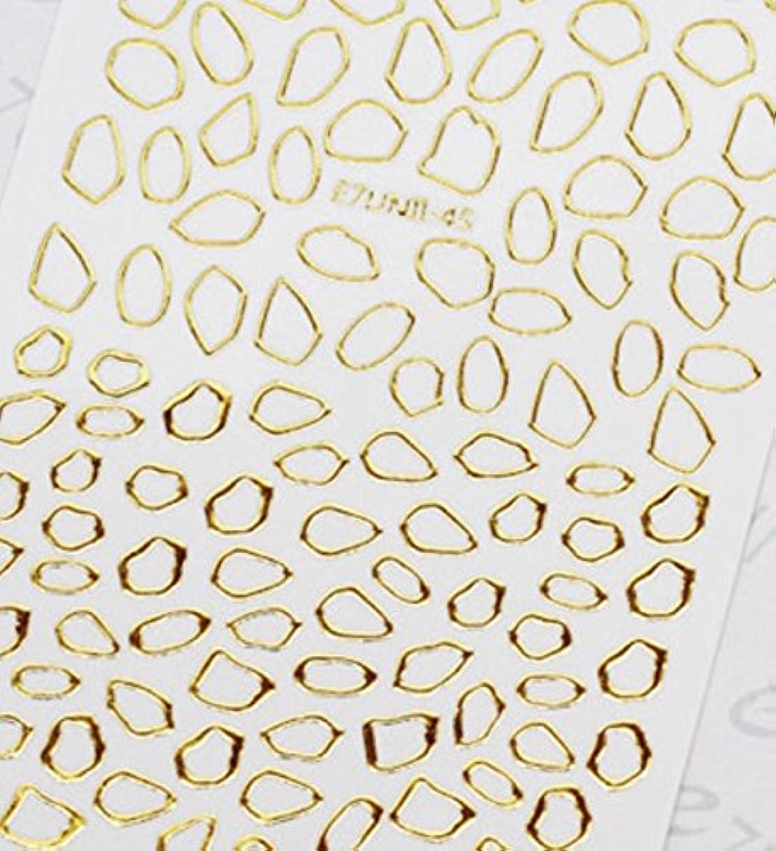 り引き潮リー極薄直接貼るタイプ ネイルシール スティッカー 枠 変形フレーム 垂らしこみアート用 多種多様なデザインに対応可能 ゴールド 金色 45番