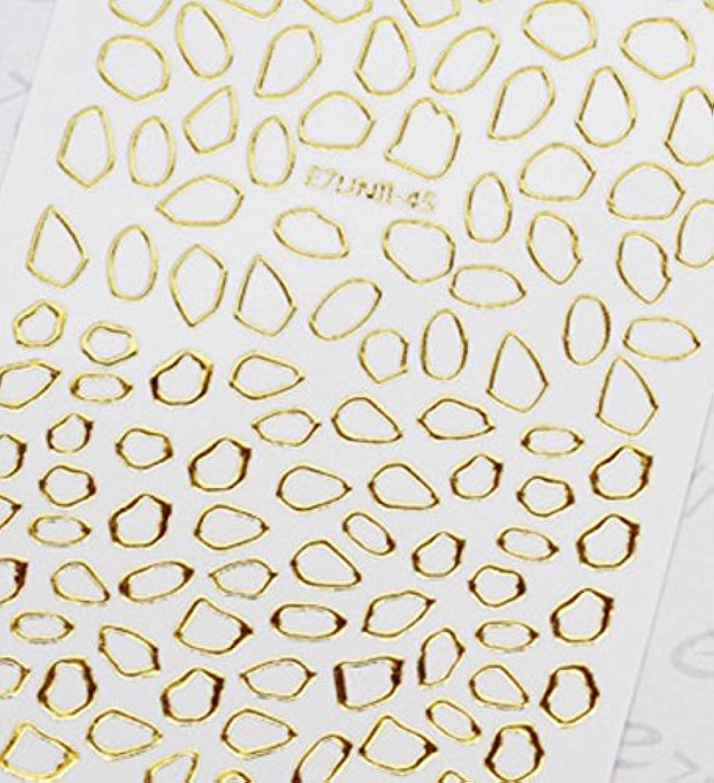 疾患シリアル差別する極薄直接貼るタイプ ネイルシール スティッカー 枠 変形フレーム 垂らしこみアート用 多種多様なデザインに対応可能 ゴールド 金色 45番