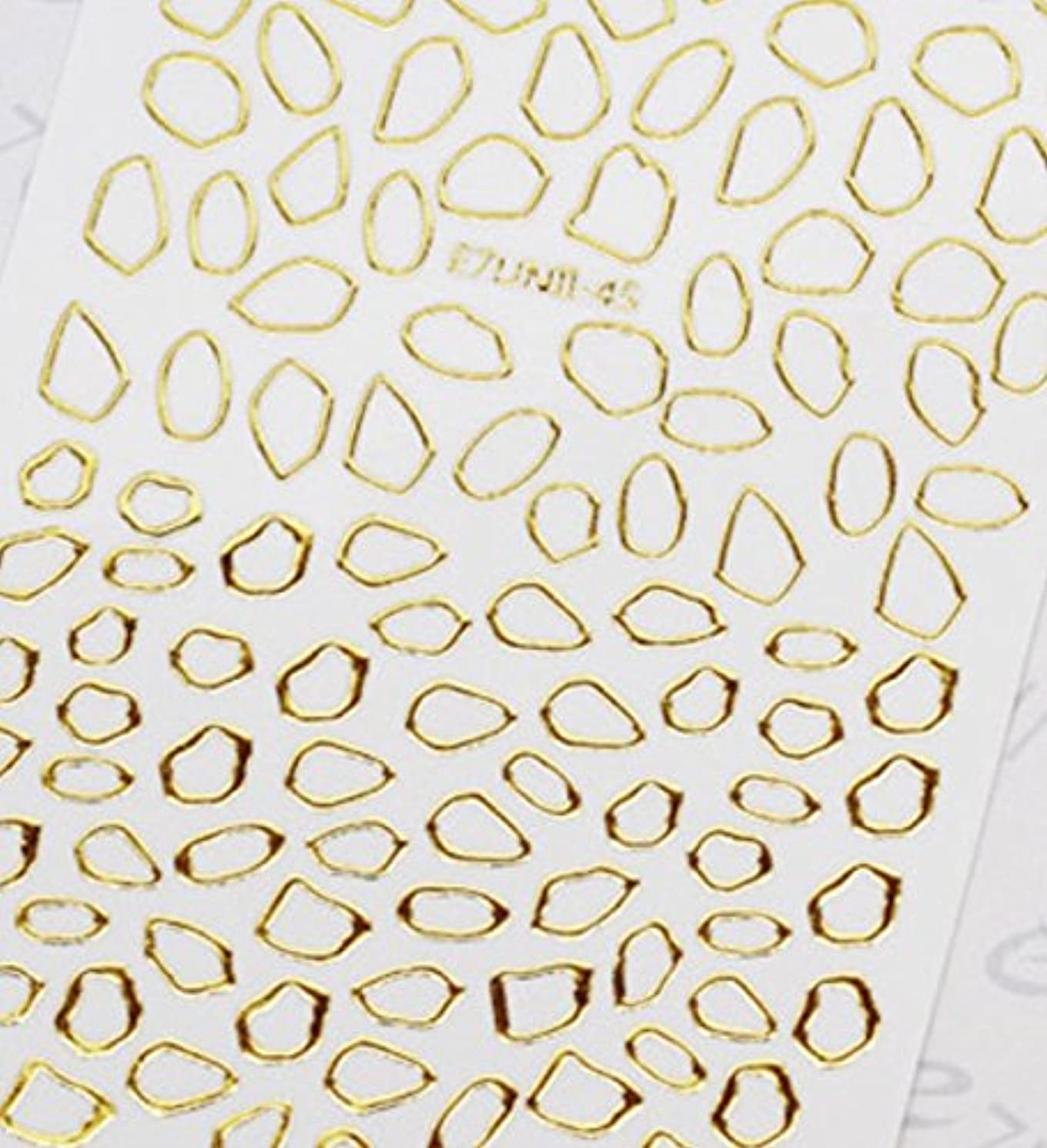 決定するコンピューターを使用する興奮極薄直接貼るタイプ ネイルシール スティッカー 枠 変形フレーム 垂らしこみアート用 多種多様なデザインに対応可能 ゴールド 金色 45番