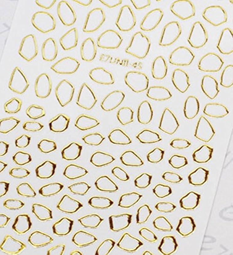 病気だと思うオーブンパパ極薄直接貼るタイプ ネイルシール スティッカー 枠 変形フレーム 垂らしこみアート用 多種多様なデザインに対応可能 ゴールド 金色 45番