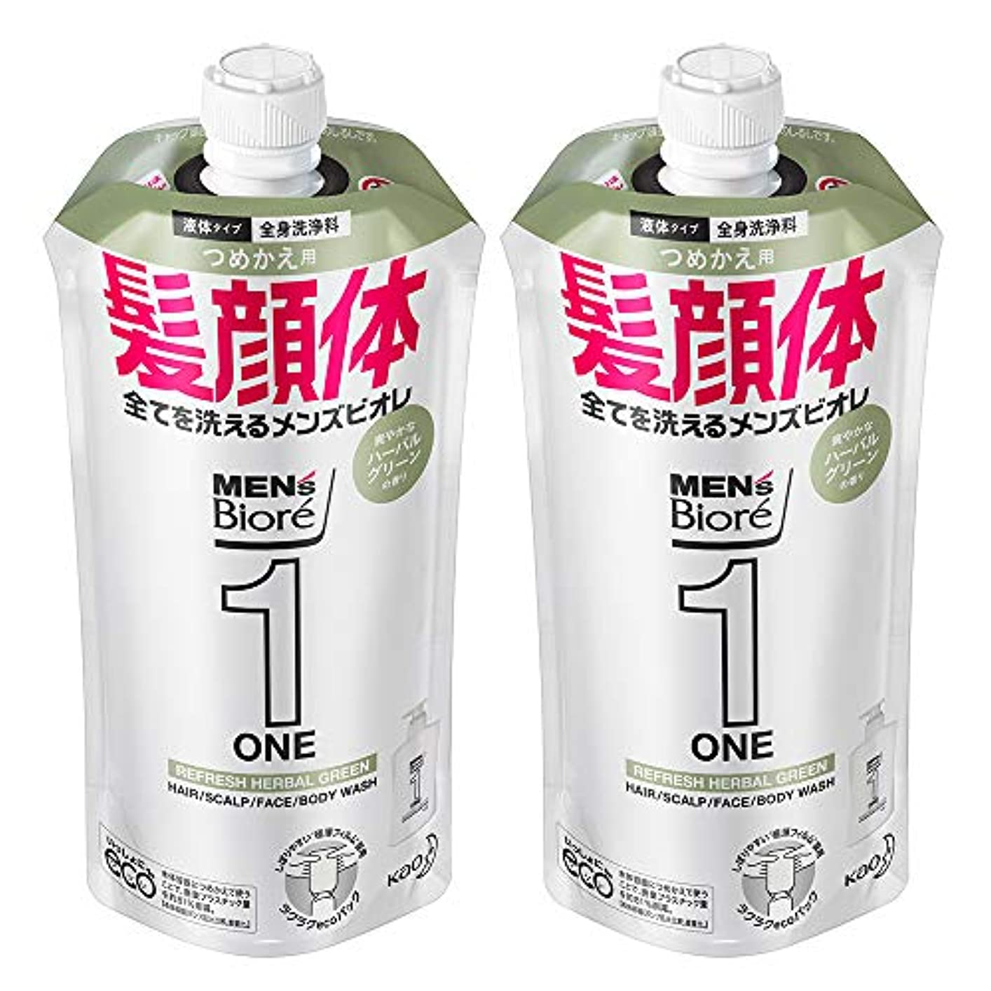 優雅な同様に感じ【まとめ買い】メンズビオレ ONE オールインワン全身洗浄料 ハーバルグリーンの香り つめかえ用 340ml×2個