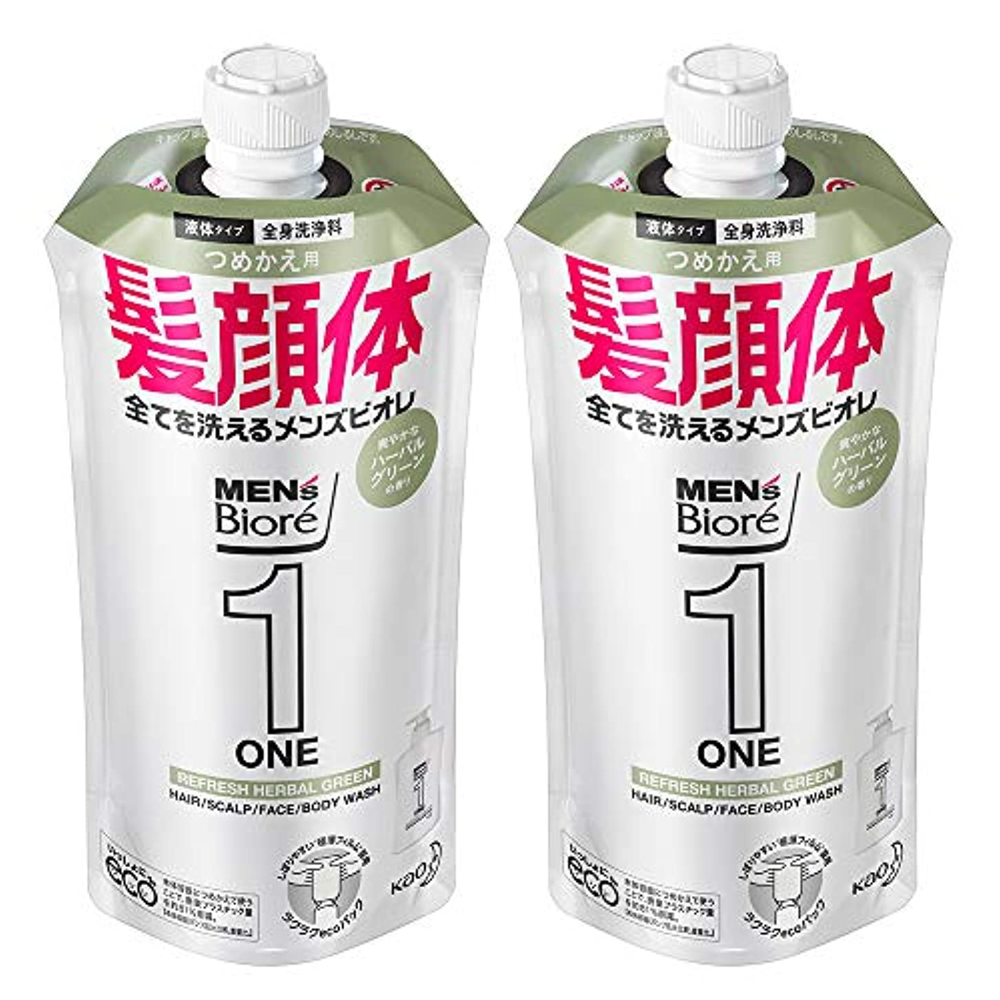 パワーセル天才学部長【まとめ買い】メンズビオレ ONE オールインワン全身洗浄料 ハーバルグリーンの香り つめかえ用 340ml×2個