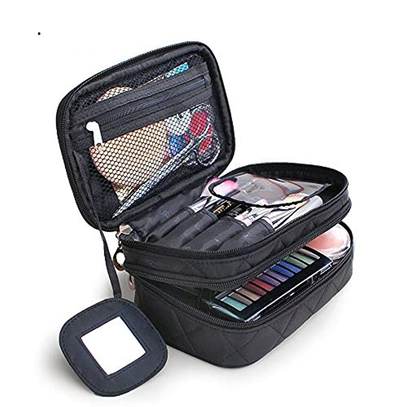 しっとり計算する評決特大スペース収納ビューティーボックス 旅行化粧化粧ケース、ポータブルブラシケース化粧品バッグ旅行セット収納袋化粧品バッグ、黒クラシック 化粧品化粧台