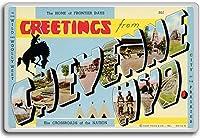 Greetings From Cheyenne, Wyoming - Vintage 1940s Postcard fridge magnet - ?????????