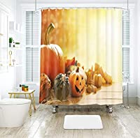 ハロウィン要素プリントシャワーカーテン180 * 180センチメートル防水とカビ防止デジタル印刷71×71インチ風呂カーテン付き12ピースフック (Color : 5, Size : 180*180)