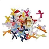 ノーブランド品 カラフル DIY 手芸用 クラフト 結婚式 装飾 100個 ミニ サテン リボン 蝶結び