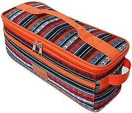 Six-Bullotime アウトドア食器収納バッグ キャンプ 収納ボックス キャンプ旅行食器入れバッグ 収納ケース 収納 ツールバッグ 調理器具入れ 大容量 クッキングツールセット 調理器具入れ カラーストライプ カラフルな縞 持ち運びが便利 オレンジ