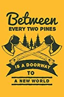 Between every two pines is a doorway to a new world: Journal Book 110 Lined Pages Inspirational Quote Notebook To Write in: Lined notebook