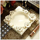 YASE-king Creative European decorative ornaments beige ceramic ashtray table home office bedroom length 18 cm height 4 cm
