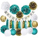 Furuix Bride To Be Banner White Teal Gold Tissue Pom Pom Paper Lanternd Tassel Garland for Hen Party/Teal Bride Shower Decorations
