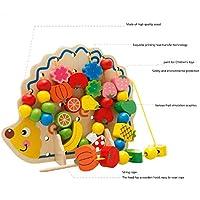 Binベビーシェイプカラー認識おもちゃHedgehogs Stranded木製ビーズおもちゃHappy学習と教育玩具over 3 years old Kids