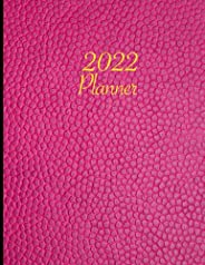 2022 Planner: Weekly, Monthly & Yearly Planner Journal   Pink Leather Stylish Cover Design   For Men, Wome