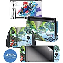 """Controller Gear Nintendo Switch Skin & Screen Protector Set Officially Licensed By Nintendo - Super Mario Kart 8 Deluxe: """"Anti Gravity"""" - Nintendo Switch"""