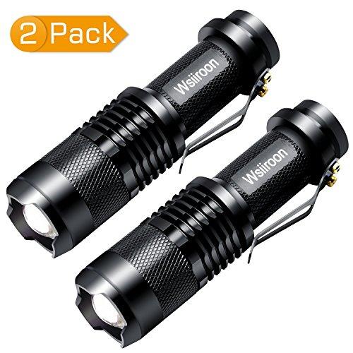 超小型 LED 懐中電灯-Wsiiroon(2組)高輝度 ハンディライト CREE社製 ズーム式 3モード 軍用 停電防災対策