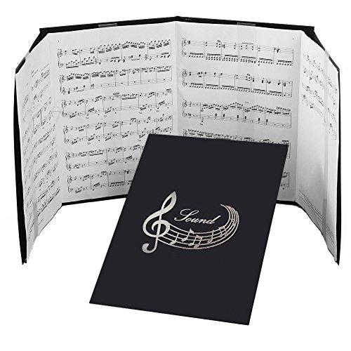 NEW 4ページ楽譜ファイル(譜面止め付き)音符 黒<br>楽譜1枚から長くつないだ楽譜まで使える<br>練習用にも発表会や演奏会にも使えて人気!<br>新タイプにリニューアル<br>【楽譜 ファイル 楽譜ピアノ 楽譜クリップ 楽譜スタンド】<br>日本製<br>