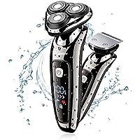 Hatteker 電気シェーバー Mens Electric Shaver Razor Beard Trimmer Rotary Shaver Cordless Sideburn Trimmer Wet/Dry 2 in 1 USB Rechargeable Waterproof Classic Black (並行輸入品)