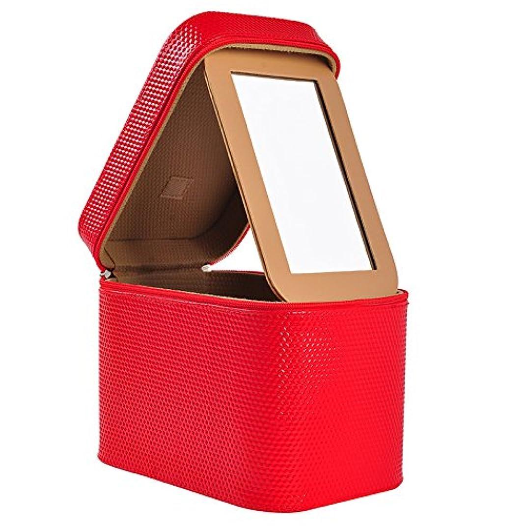 静脈畝間分泌するメイクボックス ガールズ メイクポーチ 鏡付き 23×15×18cm 化粧ポーチ コスメ収納ポッチ 洗面用具入れ フック付き 収納バッグ おしゃれ 小物整理 超軽量 出張用 旅行用 化粧ケース
