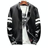 (リスキス) riskiss メンズ PUレザー 袖 切り替え ジャケット MA1 スタジャン JKT アウター レザージャケット 黒 白 (L, 黒)