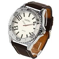 腕時計 メンズ 防水 ビッグフェイス 革ベルト ビジネス ウォッチ AM26 ホワイト × ブラウン