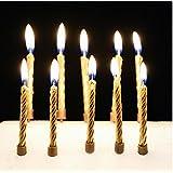 10本ラブリーゴールド/シルバーバースデーケーキキャンドルパーティーウェディングクリスマスキャンドル装飾用品 (ゴールド)