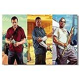 1 の Wholesale-Grand Theft Auto 5 V ゲーム壁シルクポスター 48 x 32,36 24,18 x x 12 インチの大きな促進プリント男の子部屋 3 4 GTA GTA 5 女の子ボックスアート( 014 ピース)