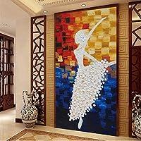 Wuyyii カスタム3 D壁画壁紙ヨーロッパスタイルバレリーナ少女廊下壁紙抽象抽象入り口大きな壁画バレエダンスA