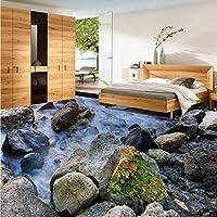 Wxmca 石造りの海の波3Dリビングルームのバスルームの床防湿肥厚キッチンロビーのオフィスの床張りの壁画-400X280Cm