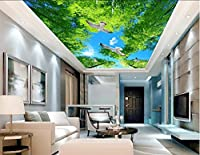 Wapel 3 D ファンタジーグリーンフォレストスカイホームデコレーション 3 d 壁紙テレビ、背景、壁紙、リビングルームの天井 絹の布 200x140CM