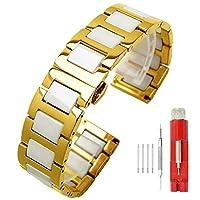 ラグジュアリーセラミック腕時計バンド 交換用ステンレススチール腕時計ブレスレット デプロイメントクラスプ メタルストラップウォッチ すべてのリンク 取り外し可能 6色 メンズ レディース 14mm 16mm 18mm 20mm 22mm 20mm Gold Steel+White Ceramic