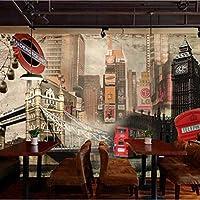 Xueshao 3D壁画ヨーロッパスタイルのレトロな英国の建物大壁画カフェソファの背景ロンドンの壁紙-200X140Cm